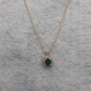 Emerald and diamond necklace 14 karat